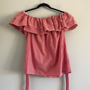 Who What Wear Off the Shoulder Gingham Print Top L
